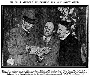 Charles H. Workman - Gilbert, Workman and German at a rehearsal of Fallen Fairies