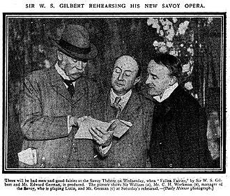 Charles H. Workman - Gilbert, Workman and German at a rehearsal of Fallen Fairies