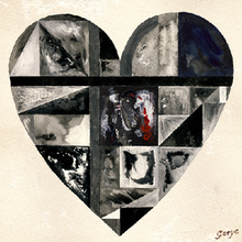 A large heart shaped design is filled with a montage of images. Most are grey, black and white; the central image includes red colouring. The name Gotye is styled as a signature at bottom right.