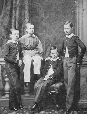 Grand Duke Alexei Alexandrovich of Russia - Alexei Alexandrovich (the boy with the light color pants) with three of his brothers (from left to right: Alexander, Alexei, Vladimir and Tsarevich Nicholas) photo by Sergei Lvovich Levitsky
