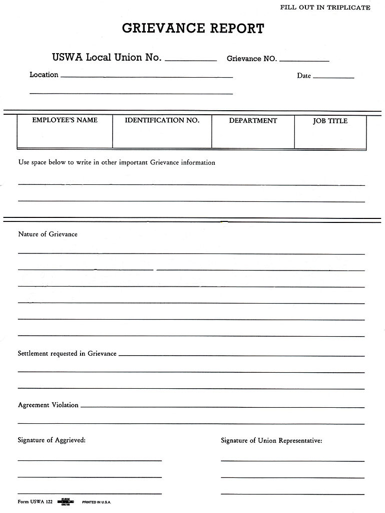 FileGrievance reportjpg Wikipedia – Employee Complaint Form Example