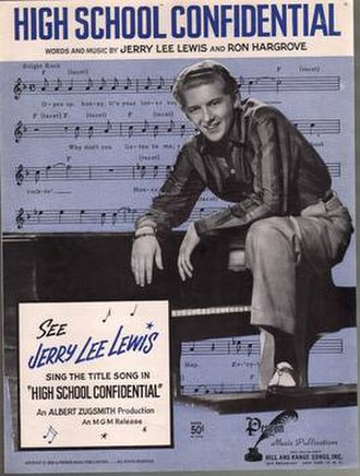 High School Confidential (Jerry Lee Lewis song) - 1958 sheet music cover.