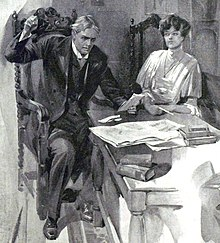white man reading a letter, raising a hand and looking horrified, watched by a woman with dark hair and intent facial expression