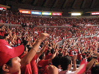 San Beda College - The San Beda Red Army cheering the Indian Yell