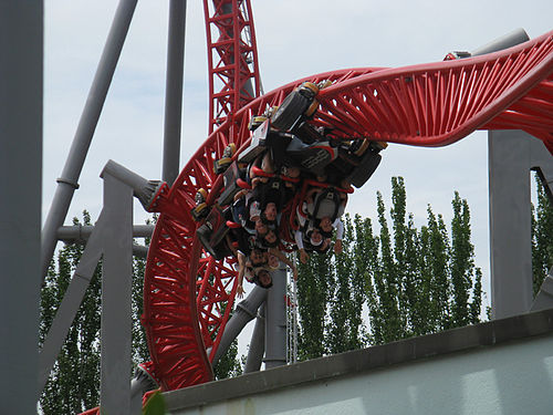 the coaster then plummets to the ground following this is a barrage of airtime hills tight inversions throughout the ride in certain spots alloy fins are