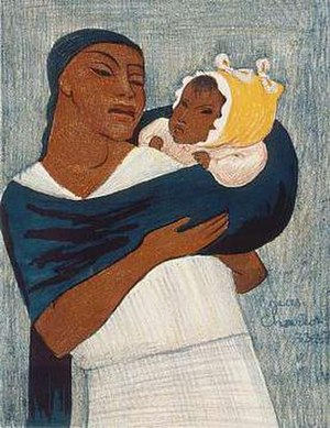 Jean Charlot - Image: Jean Charlot's color lithograph 'Woman Standing with Child on Back',