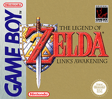 "A sword stands over a shield, and goes through the letter ""Z"" in the title ""The Legend of Zelda: Link's Awakening""."