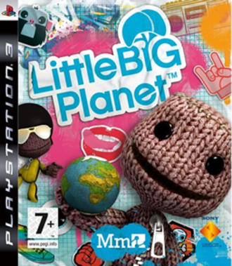 LittleBigPlanet (2008 video game) - PAL LittleBigPlanet box art, showing sackpeople characters and the game's sticker feature