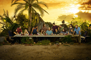 Lost (season 6) - From left to right: Ilana, Richard, Claire, Sayid, Kate, Sawyer, Locke, Jack, Jin, Ben, Hurley, Sun, Miles and Frank, arranged in a pastiche of Leonardo da Vinci's The Last Supper. Sayid occupies the same position as Judas.