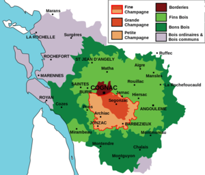 Fine Champagne - Map of the Cognac region