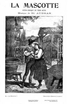 cover of musical score, with black and white engraving of young man and young woman in 16th century costume