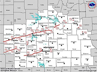 Tornado outbreak sequence of May 2003 - Tornado Tracks in Southwest Missouri
