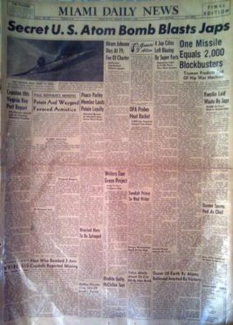 The Miami News - A Miami Daily News front page dated August 6, 1945 featuring the atomic bombing of Hiroshima, Japan.