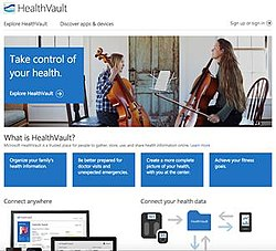 Screenshot of Microsoft HealthVault