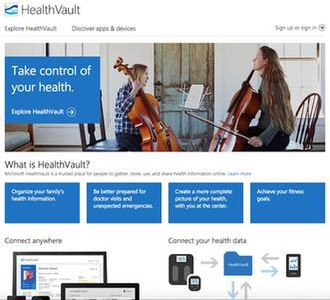 Microsoft HealthVault - Screenshot of Microsoft HealthVault