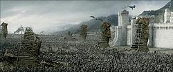 The forces of Mordor assailing Minas Tirith