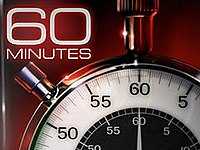 "The phrase ""60 MINUTES"" in Eurostile Extended typeface above a stopwatch showing a hand pointing to the number 60."