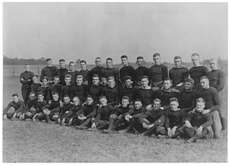 Sherwood Dixon - 1916 University of Notre Dame Football Team. Sherwood Dixon is fourth from the left in the second row and Assistant Coach Knute Rockne far right third row.