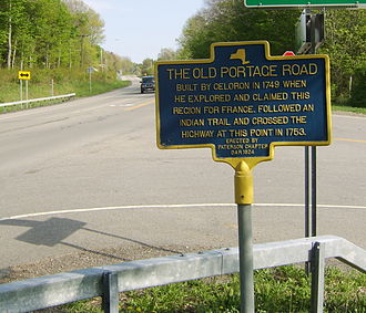 New York State Route 394 - A historical marker on NY 394 east of Westfield commemorating the Old Portage Road.