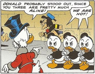 "Huey, Dewey, and Louie - Self-referential humor: Scrooge with Huey, Dewey, and Louie in ""Return to Plain Awful"" (1989) by Don Rosa"