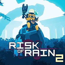 "A person in a spacesuit plays a guitar on top of a large defunct robot; the works ""Risk of Rain 2"" are written in a stylised font on the right side"