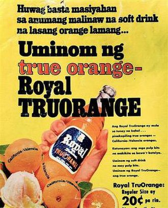 Royal Tru - A Filipino (Tagalog) language advertisement of Royal Tru-Orange dating 1976