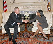 Prime Minister Sanader with US Sec'y of State Condoleezza Rice in Washington, D.C. on October 17, 2006.