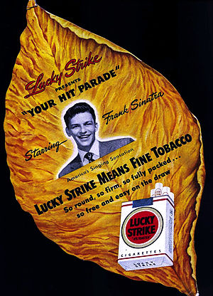 Your Hit Parade - The Frank Sinatra Your Hit Parade cardboard fan, designed like a tobacco leaf, is a rare collectible.