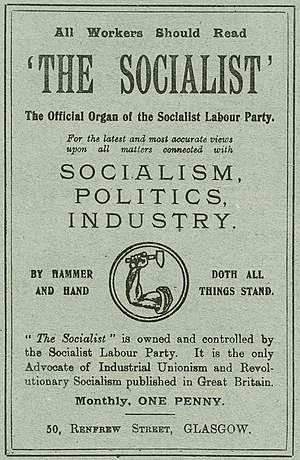 """Socialist Labour Party (UK, 1903) - The British SLP adopted the familiar """"arm and hammer"""" of its American namesake as its official logo."""