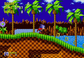 Sonic the Hedgehog (character) - Sonic, as seen in his first game, runs through Green Hill Zone, the first zone of Sonic the Hedgehog (1991)