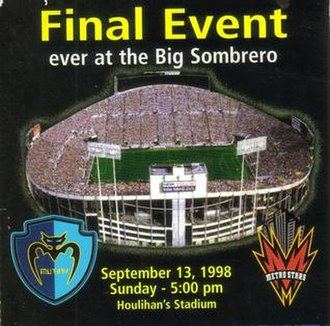 Tampa Stadium - Promotional poster for the final event at Tampa Stadium – a soccer match between the MLS Tampa Bay Mutiny and the MetroStars.