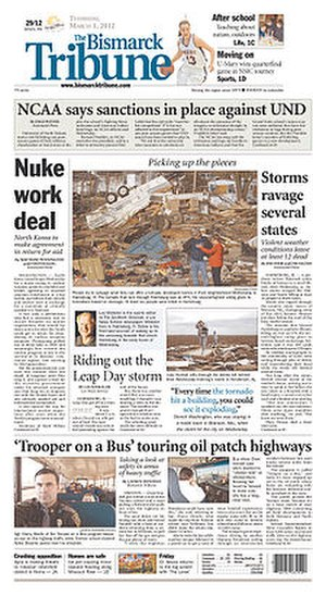 The Bismarck Tribune - Image: The Bismarck Tribune front page