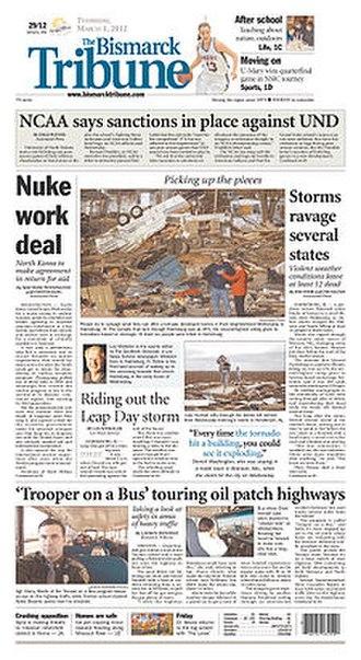 The Bismarck Tribune - Image: The Bismarck Tribune front page