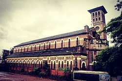 The most iconic structure seen in Guruwar Peth:The Holy Church Of The Holy Name and its Bell Tower