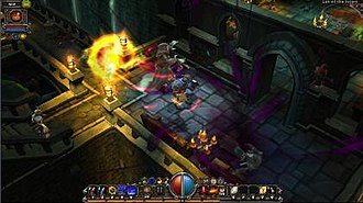 A Destroyer engages in combat against undead monsters. The bar at the bottom of the screen displays skills activated by hotkeys. Torchlight screenshot.jpg