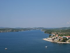 View of beach Banj and Sibenik sea from St. Michael's Fortress