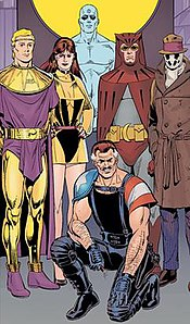 The cast of Watchmen, clockwise from top: Dr Manhattan, The Comedian, Ozymandias, Nite Owl, Rorschach, Captain Metropolis, the Silk Spectre. Art by Dave Gibbons.
