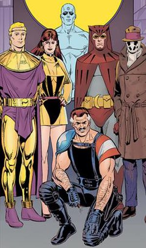 Watchmen - The main characters of Watchmen (from left to right): Ozymandias, the second Silk Spectre, Doctor Manhattan, The Comedian (kneeling), the second Nite Owl, and Rorschach.