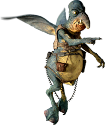Character featuring faded blue skin and small wings on his back