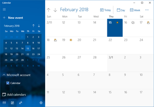 Calendar (Windows) - Image: Windows 10 Calendar