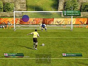 2010 FIFA World Cup South Africa (video game) - The method of taking a penalty kick was altered on the game. In the player's display in the bottom-left, the coloured bar below the name represents the accuracy, while the green bar above represents the power (PS3/Xbox 360 versions only). This feature was thereafter adopted for future FIFA titles.