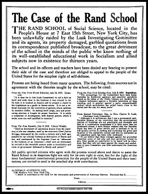 Rand School of Social Science - Full page magazine ad published in August 1919 soliciting funds for the legal defense of the Rand School of Social Science following the Lusk Committee raid.