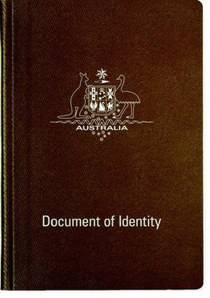 Australian Document of Identity - The front cover of a contemporary Australian Document of Identity