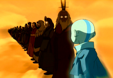 The Avatars standing in line, including Aang, Roku, Kyoshi, Kuruk, and Yangchen, in that order.