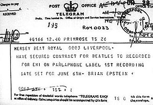 Brian Epstein - The telegram that Epstein sent to Mersey Beat newspaper in Liverpool to announce that he had secured the Beatles their first recording contract