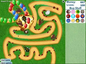 Bloons Tower Defense - A screenshot of the Bloons TD 3 browser version.