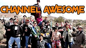 "Channel Awesome - A ""team shot"" of Channel Awesome producers and Republic of Molossia president Kevin Baugh, c. the 2010 filming of their 2nd year anniversary feature-length special Kickassia"