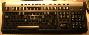 Chorded keyboard - A 104-key USB keyboard adapted into a chording keyboard. All phonetic keystrokes may be accomplished by one and two-key chords of the home keys on the top row.