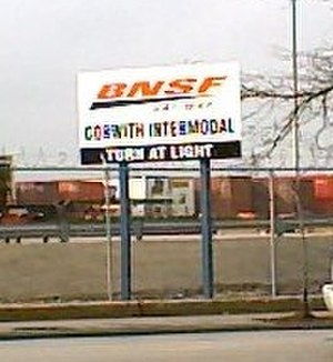 Brighton Park, Chicago -  A sign for the Corwith Intermodal freight facility.