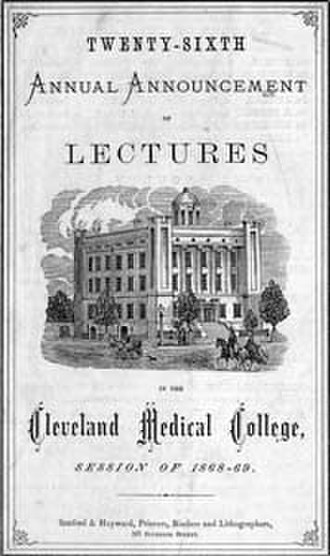 Case Western Reserve University School of Medicine -  Cover of the Medical School catalog of 1868-69.